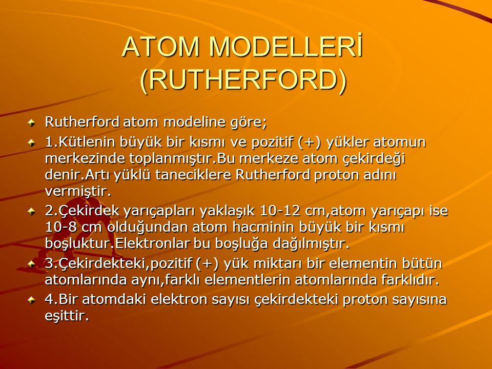 Bu gözlemlere dayanarak Rutherford,Thomson'ın modelinde önerildiği gibi kütle ve pozitif yüklerin atom içinde düzgün bir şekilde dağılmadığını,atomun