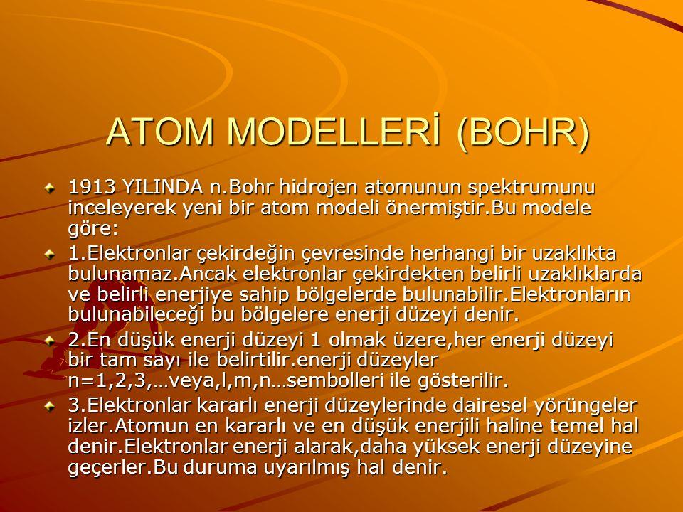 ATOM MODELLERİ (RUTHERFORD) Rutherford modeli,elektronların çekirdeğin çevresinde büyük bir boşluğa dağıldığını kabül eder.Ancak elektronların dağılım