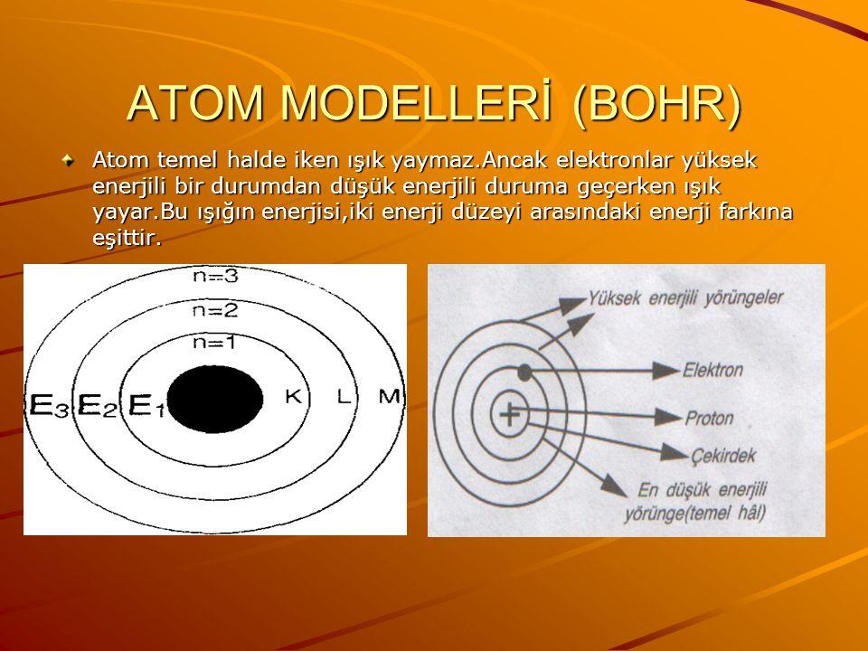 ATOM MODELLERİ (BOHR) 1913 YILINDA n.Bohr hidrojen atomunun spektrumunu inceleyerek yeni bir atom modeli önermiştir.Bu modele göre: 1.Elektronlar çeki