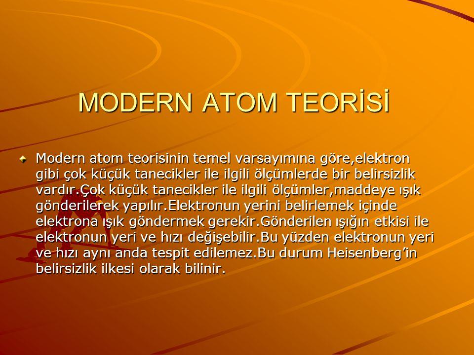 MODERN ATOM TEORİSİ Bohr atom modeli hidrojen ve hidrojen gibi tek elektronlu iyonların spektrumlarını açıklayabilmesine karşın,çok elektronlu atomlar