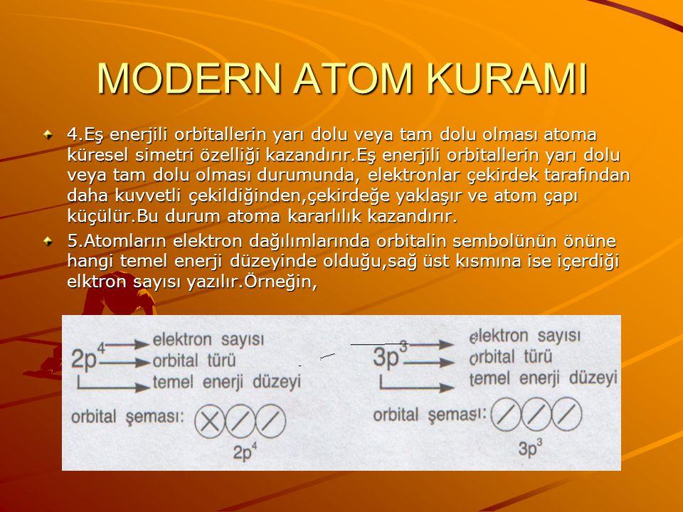 ELEKTRON DAĞILIMI: 1.Temel halde elektronlar çekirdeğe en yakın olan,en düşük enerjili orbitalden başlanarak sıra ile en yüksek enerjili orbitale doğr