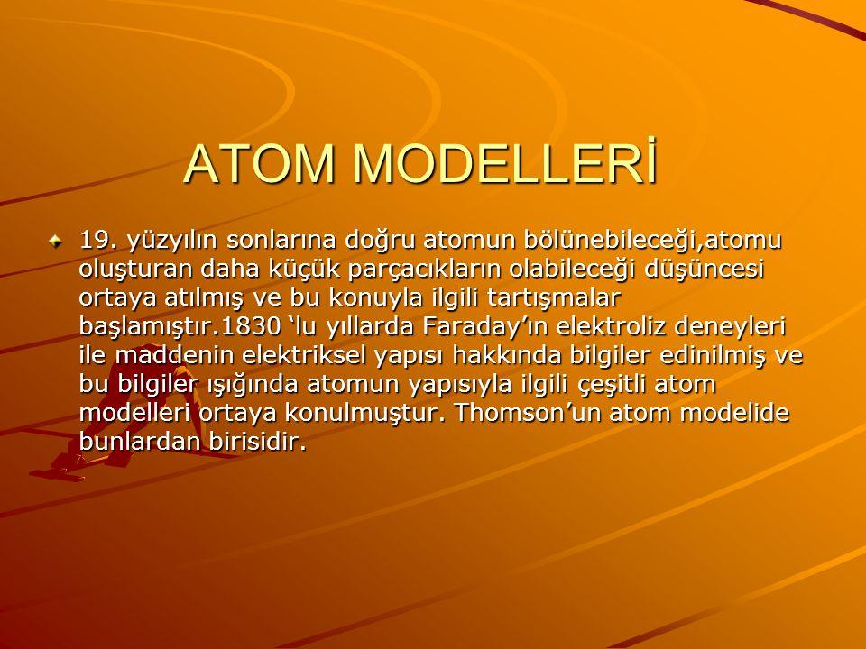 ATOM MODELLERİ 19.