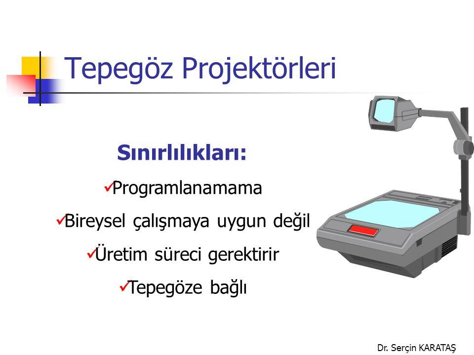 Dr. Serçin KARATAŞ Tepegöz Projektörleri Sınırlılıkları: Programlanamama Bireysel çalışmaya uygun değil Üretim süreci gerektirir Tepegöze bağlı