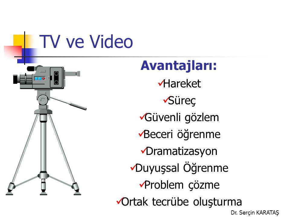 Dr. Serçin KARATAŞ TV ve Video Avantajları: Hareket Süreç Güvenli gözlem Beceri öğrenme Dramatizasyon Duyuşsal Öğrenme Problem çözme Ortak tecrübe olu