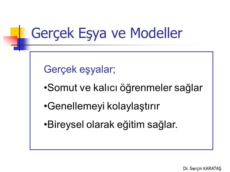 Dr. Serçin KARATAŞ Gerçek Eşya ve Modeller Gerçek eşyalar; Somut ve kalıcı öğrenmeler sağlar Genellemeyi kolaylaştırır Bireysel olarak eğitim sağlar.