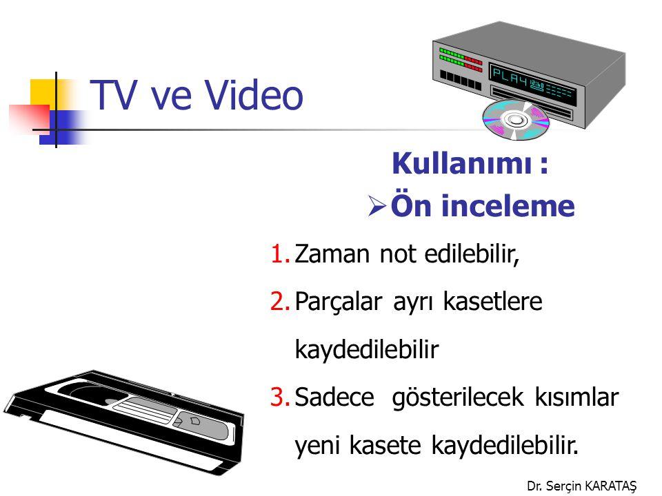 Dr. Serçin KARATAŞ TV ve Video Kullanımı :  Ön inceleme 1.Zaman not edilebilir, 2.Parçalar ayrı kasetlere kaydedilebilir 3.Sadece gösterilecek kısıml