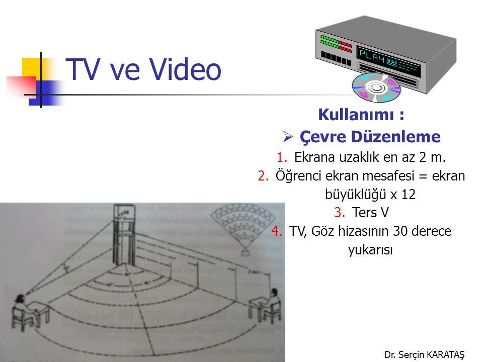 Dr. Serçin KARATAŞ TV ve Video Kullanımı :  Çevre Düzenleme 1.Ekrana uzaklık en az 2 m. 2.Öğrenci ekran mesafesi = ekran büyüklüğü x 12 3.Ters V 4.TV
