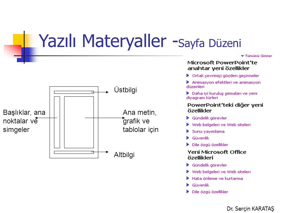 Dr. Serçin KARATAŞ Başlıklar, ana noktalar ve simgeler Ana metin, grafik ve tablolar için Üstbilgi Altbilgi Yazılı Materyaller - Sayfa Düzeni