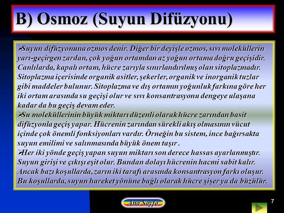 7 B) Osmoz (Suyun Difüzyonu) SSSSuyun difüzyonuna ozmos denir. Diğer bir deyişle ozmos, sıvı moleküllerin yarı-geçirgen zardan, çok yoğun ortamdan