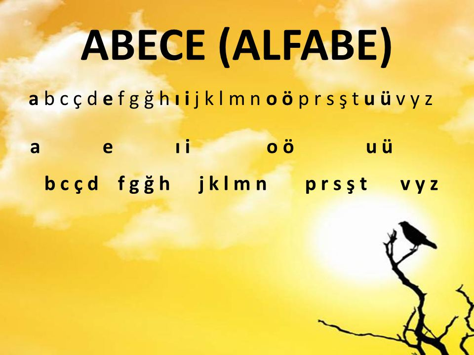 ABECE (ALFABE) a b c ç d e f g ğ h ı i j k l m n o ö p r s ş t u ü v y z a e ı i o ö u ü b c ç d f g ğ h j k l m n p r s ş t v y z