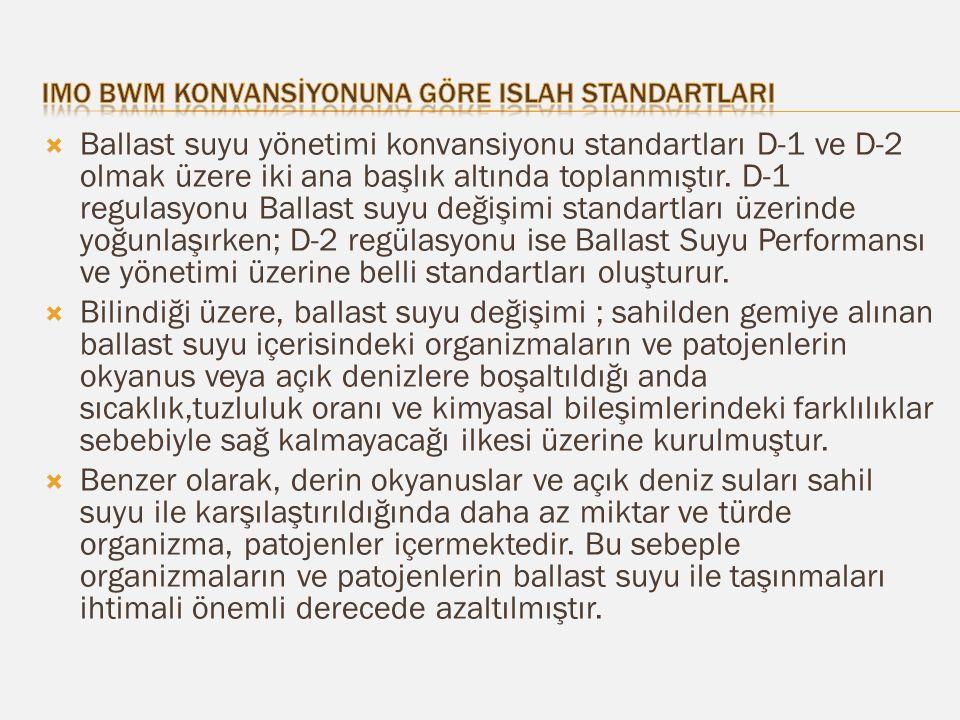  Ballast suyu yönetimi konvansiyonu standartları D-1 ve D-2 olmak üzere iki ana başlık altında toplanmıştır.