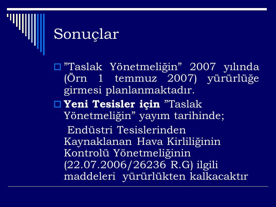 Sonuçlar  Taslak Yönetmeliğin 2007 yılında (Örn 1 temmuz 2007) yürürlüğe girmesi planlanmaktadır.
