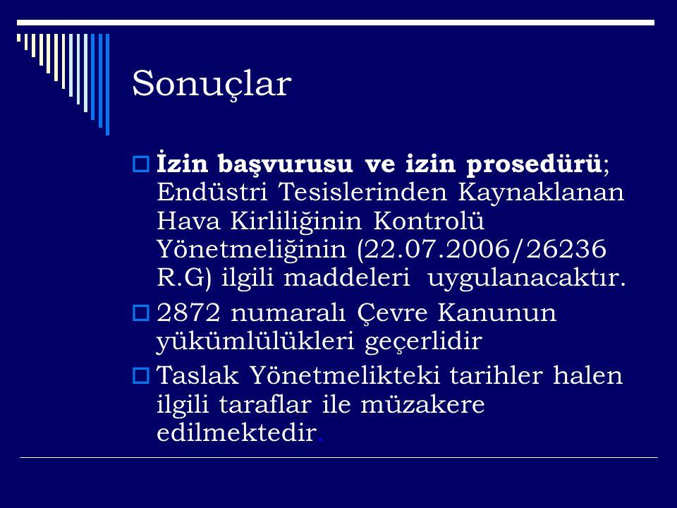 Sonuçlar  İzin başvurusu ve izin prosedürü ; Endüstri Tesislerinden Kaynaklanan Hava Kirliliğinin Kontrolü Yönetmeliğinin (22.07.2006/26236 R.G) ilgili maddeleri uygulanacaktır.