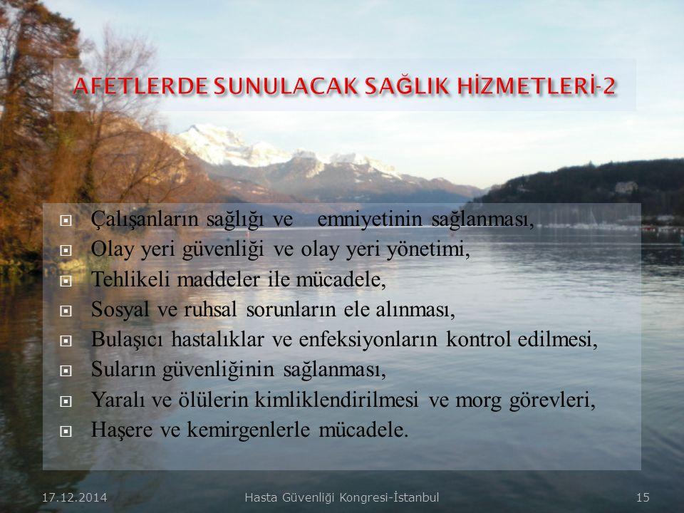 17.12.2014Hasta Güvenliği Kongresi-İstanbul 14  Tıbbi ihtiyaçların karşılanması,  Halk sağlığı ve halkı bilinçlendirme,  Eğitimli profesyonel sağlı