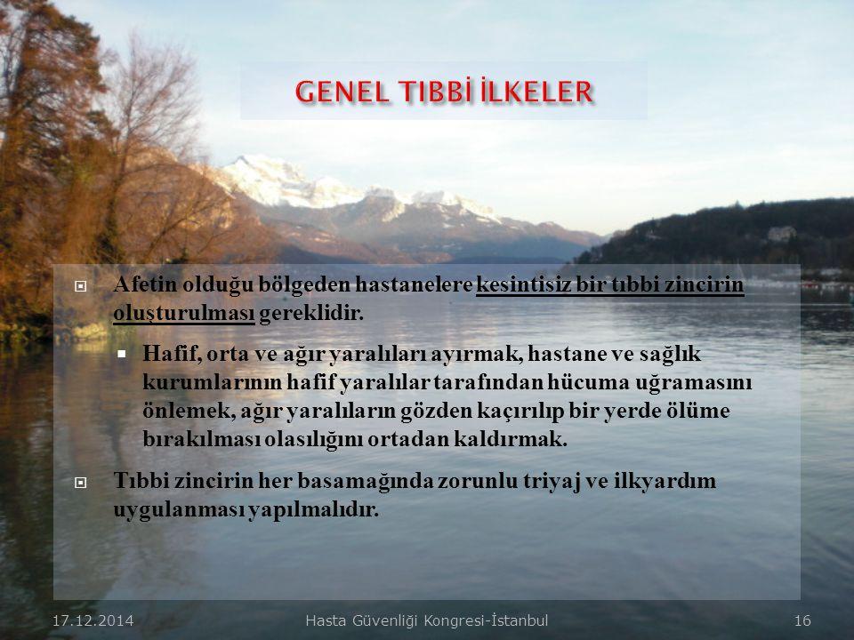 17.12.2014Hasta Güvenliği Kongresi-İstanbul 15  Çalışanların sağlığı ve emniyetinin sağlanması,  Olay yeri güvenliği ve olay yeri yönetimi,  Tehlik