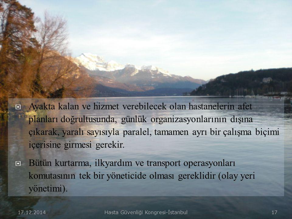 17.12.2014Hasta Güvenliği Kongresi-İstanbul 16  Afetin olduğu bölgeden hastanelere kesintisiz bir tıbbi zincirin oluşturulması gereklidir.  Hafif, o