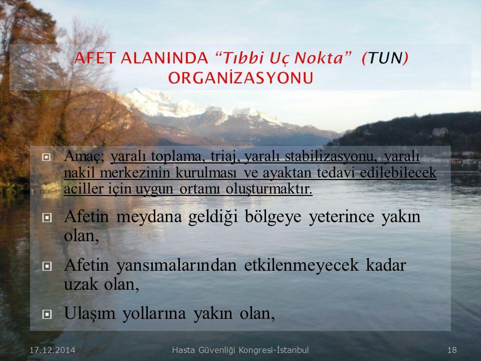 17.12.2014Hasta Güvenliği Kongresi-İstanbul 17  Ayakta kalan ve hizmet verebilecek olan hastanelerin afet planları doğrultusunda, günlük organizasyon