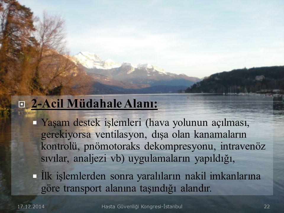 17.12.2014Hasta Güvenliği Kongresi-İstanbul 21  1-Triaj Alanı:  Giriş bölgesine yakın yerleşimli olan,  Getirilen yaralıların triajı ve sınıflandır