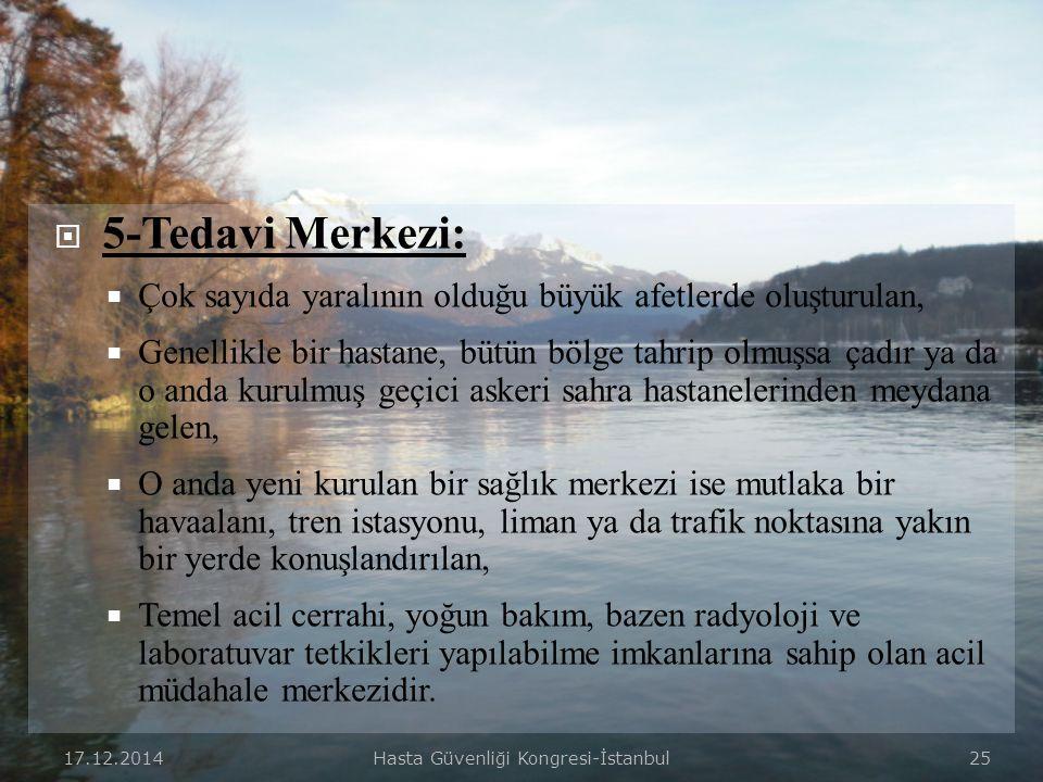 17.12.2014Hasta Güvenliği Kongresi-İstanbul 24  4-Yaralı Transport Alanı:  Yaralıların önceliklerine göre, elde olan araçlarla, sağlık kriz merkezin