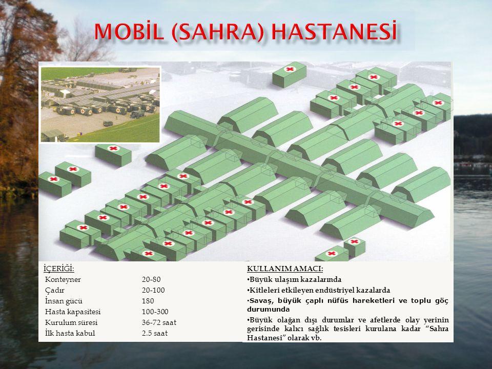 İÇERİĞİ: Konteyner6-15 Çadır10-15 Taşıma4 römorklu kamyon veya helikopter veya uçak İnsan gücü30-50 Hasta kapasitesi50-100 Kurulma süresi6 İlk hasta k