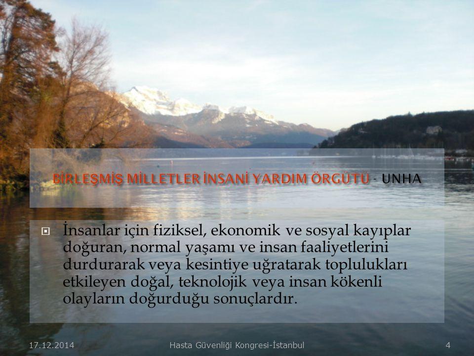 17.12.2014Hasta Güvenliği Kongresi-İstanbul 14  Tıbbi ihtiyaçların karşılanması,  Halk sağlığı ve halkı bilinçlendirme,  Eğitimli profesyonel sağlık personeli görevlendirilmesi,  Hasta tahliyesi,  Yaralıların stabilizasyonu ve naklinin sağlanması,  Hijyen ve çevre sağlığı hizmetleri,  Hasta bakımı,  Gıda ve ilaçların temini ve güvenliğinin sağlanması,  Tıbbi malzeme, araç ve gereçlerin temini,