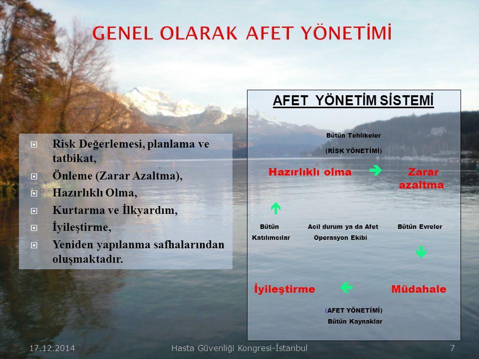 17.12.2014Hasta Güvenliği Kongresi-İstanbul 7  Risk Değerlemesi, planlama ve tatbikat,  Önleme (Zarar Azaltma),  Hazırlıklı Olma,  Kurtarma ve İlkyardım,  İyileştirme,  Yeniden yapılanma safhalarından oluşmaktadır.