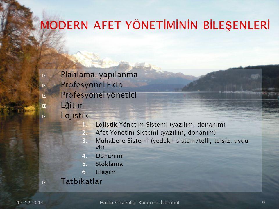 17.12.2014Hasta Güvenliği Kongresi-İstanbul 9  Planlama, yapılanma  Profesyonel Ekip  Profesyonel yönetici  E ğ itim  Lojistik; 1.Lojistik Yönetim Sistemi (yazılım, donanım) 2.Afet Yönetim Sistemi (yazılım, donanım) 3.Muhabere Sistemi (yedekli sistem/telli, telsiz, uydu vb) 4.Donanım 5.Stoklama 6.Ula ş ım  Tatbikatlar