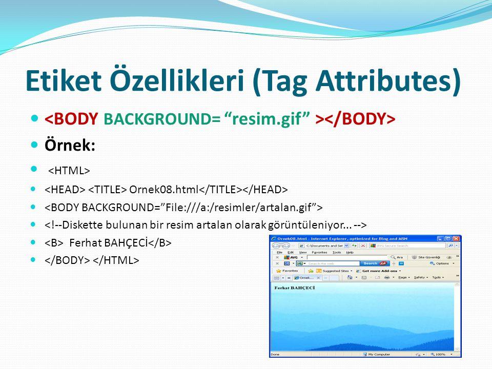 Etiket Özellikleri (Tag Attributes) Örnek: Ornek08.html Ferhat BAHÇECİ