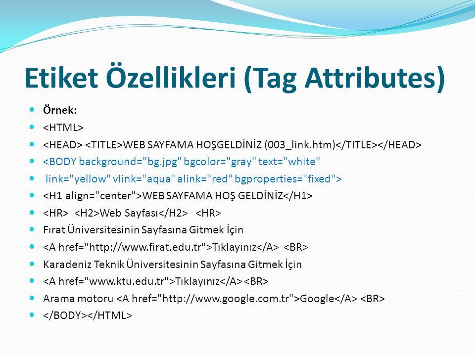 Etiket Özellikleri (Tag Attributes) Örnek: WEB SAYFAMA HOŞGELDİNİZ (003_link.htm) <BODY background=