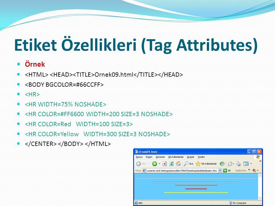 Etiket Özellikleri (Tag Attributes) Örnek Ornek09.html