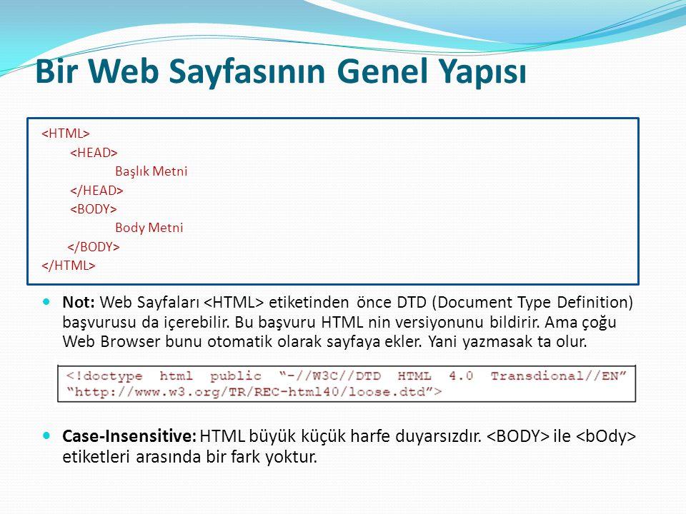 Yapısal Etiketler (Structural Tags) Yapısal etiketler ( ) web sayfasında farklı bölümler tanımlamak için kullanılır.