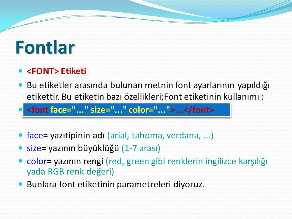 Fontlar Etiketi Bu etiketler arasında bulunan metnin font ayarlarının yapıldığı etikettir. Bu etiketin bazı özellikleri;Font etiketinin kullanımı :...