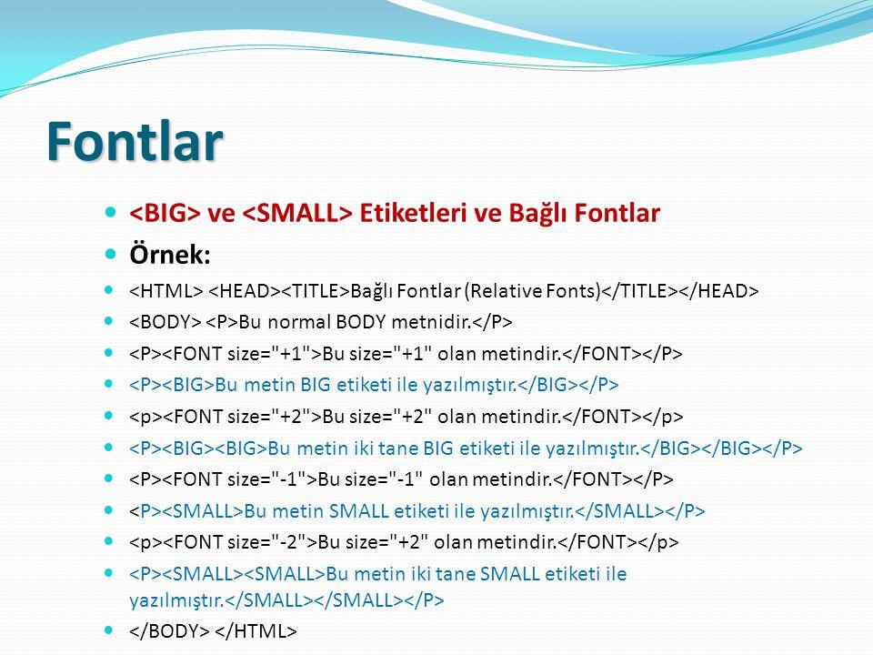 Fontlar ve Etiketleri ve Bağlı Fontlar Örnek: Bağlı Fontlar (Relative Fonts) Bu normal BODY metnidir. Bu size=