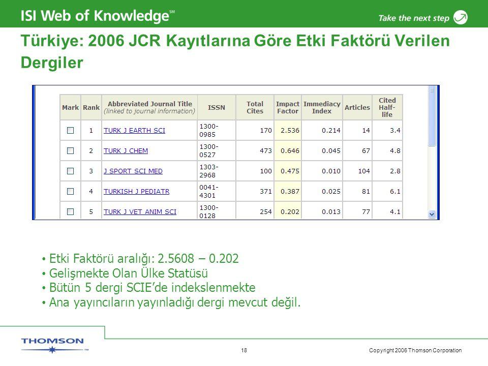 Copyright 2006 Thomson Corporation 18 Türkiye: 2006 JCR Kayıtlarına Göre Etki Faktörü Verilen Dergiler Etki Faktörü aralığı: 2.5608 – 0.202 Gelişmekte Olan Ülke Statüsü Bütün 5 dergi SCIE'de indekslenmekte Ana yayıncıların yayınladığı dergi mevcut değil.