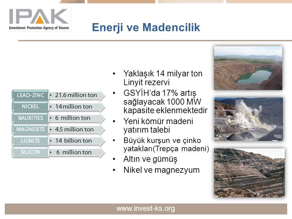 Enerji ve Madencilik Yaklaşık 14 milyar ton Linyit rezervi GSYİH'da 17% artış sağlayacak 1000 MW kapasite eklenmektedir Yeni kömür madeni yatırım tale