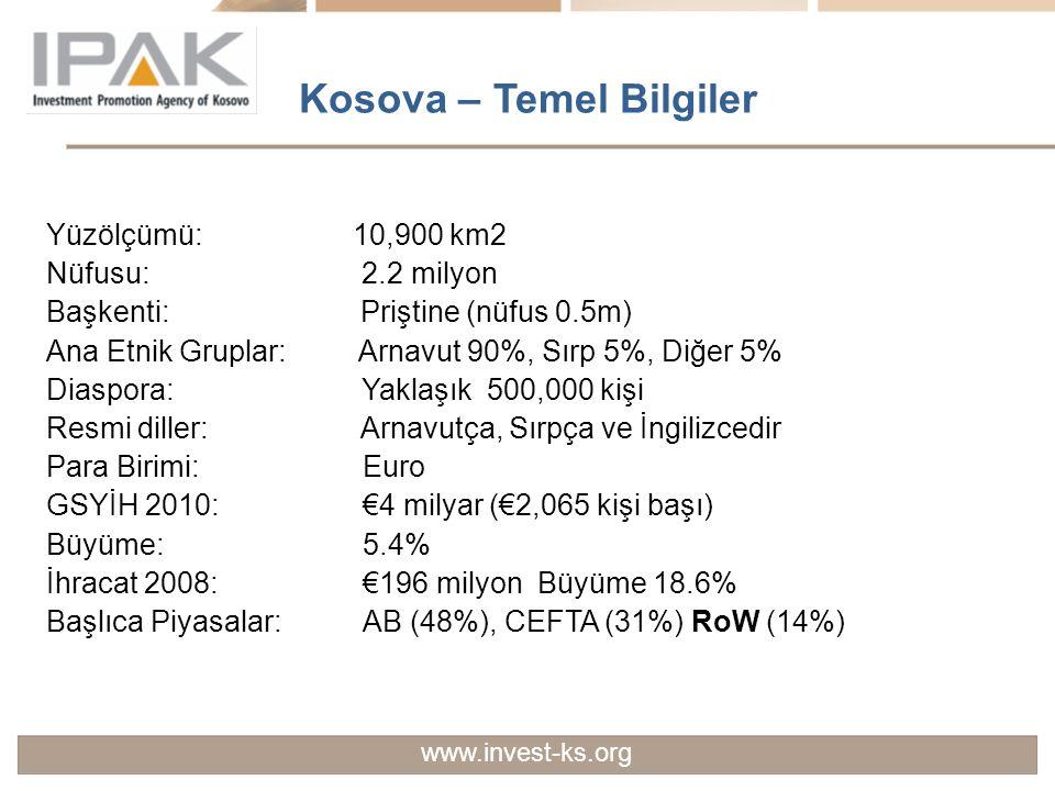 Sağlam Bankacılık Sistemi Kosova Merkez Bankası Bankacılık ve sigortacılık sektörlerine ait düzenlemeler Çok sayıda özel ticari bankalar Başlıca yabancı bankaların güçlü varlıkları Rekabetçi ve olumlu temel finansal göstergeler www.invest-ks.org