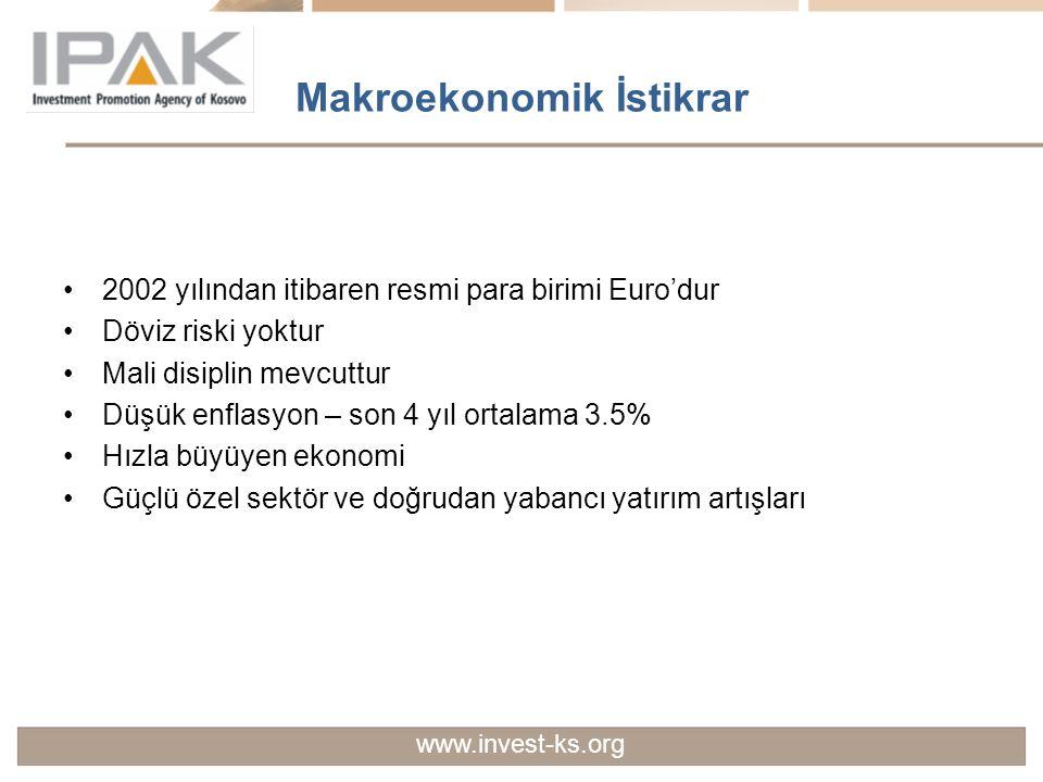 Makroekonomik İstikrar 2002 yılından itibaren resmi para birimi Euro'dur Döviz riski yoktur Mali disiplin mevcuttur Düşük enflasyon – son 4 yıl ortala