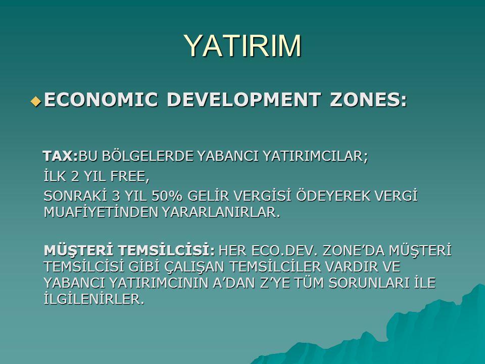 YATIRIM  ECONOMIC DEVELOPMENT ZONES: TAX:BU BÖLGELERDE YABANCI YATIRIMCILAR; TAX:BU BÖLGELERDE YABANCI YATIRIMCILAR; İLK 2 YIL FREE, İLK 2 YIL FREE,