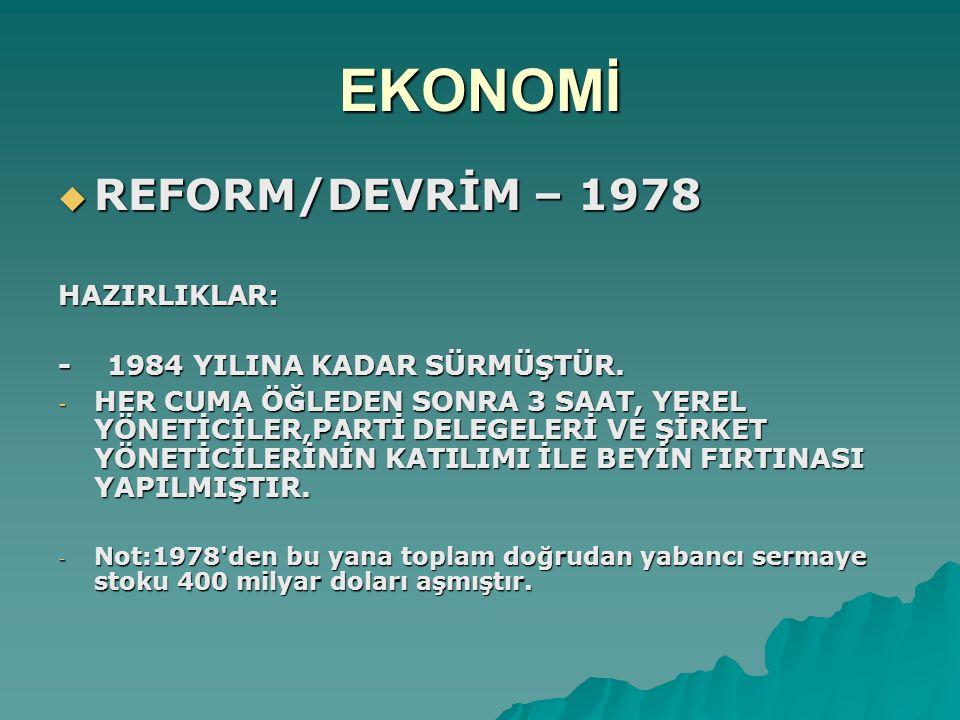 EKONOMİ  REFORM/DEVRİM – 1978 HAZIRLIKLAR: - 1984 YILINA KADAR SÜRMÜŞTÜR.