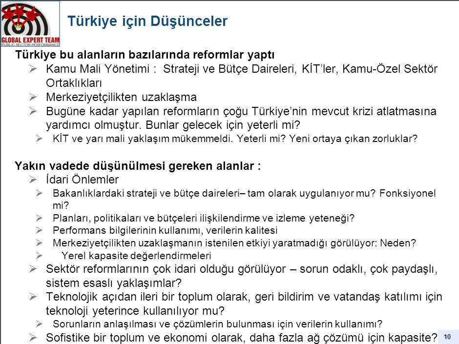 Türkiye için Düşünceler Türkiye bu alanların bazılarında reformlar yaptı  Kamu Mali Yönetimi : Strateji ve Bütçe Daireleri, KİT'ler, Kamu-Özel Sektör