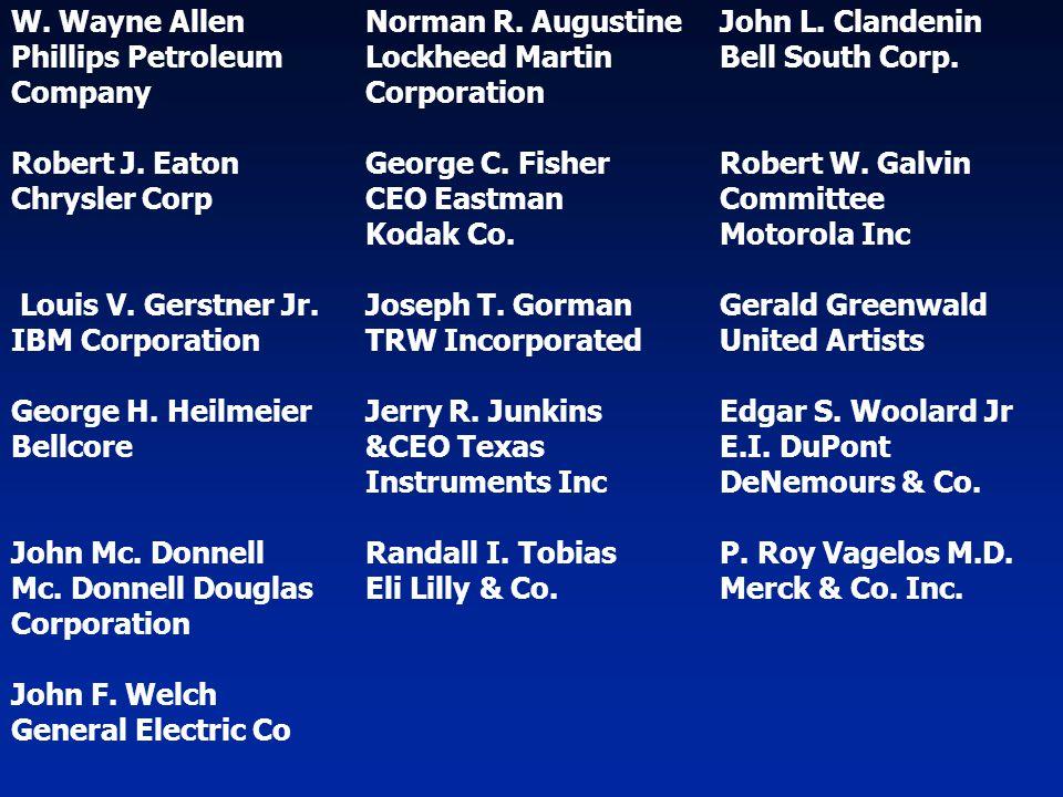 W. Wayne Allen Norman R. Augustine John L. Clandenin Phillips PetroleumLockheed Martin Bell South Corp. CompanyCorporation Robert J. Eaton George C. F