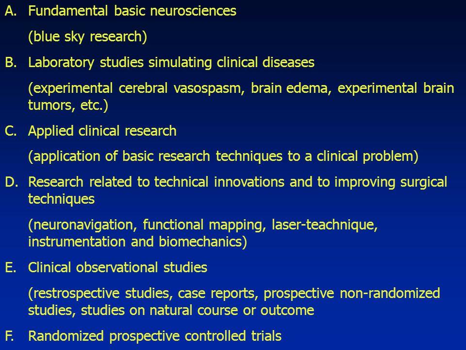 A.Fundamental basic neurosciences (blue sky research) B.Laboratory studies simulating clinical diseases (experimental cerebral vasospasm, brain edema,
