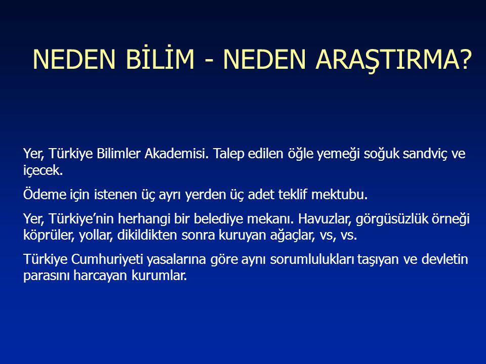 NEDEN BİLİM - NEDEN ARAŞTIRMA? Yer, Türkiye Bilimler Akademisi. Talep edilen öğle yemeği soğuk sandviç ve içecek. Ödeme için istenen üç ayrı yerden üç