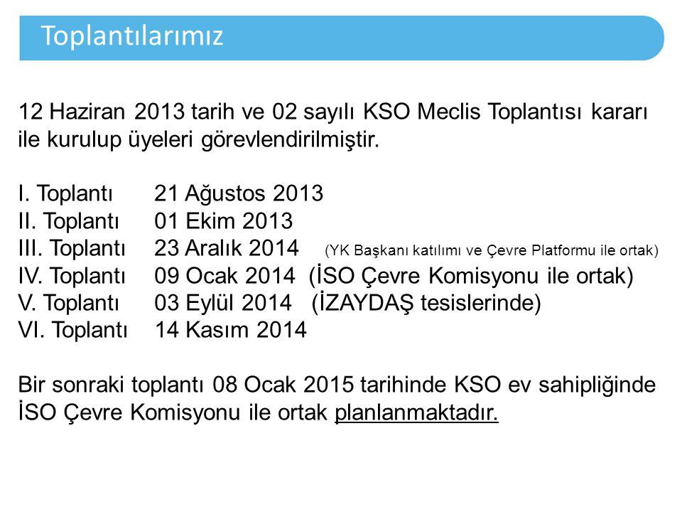 Toplantılarımız 12 Haziran 2013 tarih ve 02 sayılı KSO Meclis Toplantısı kararı ile kurulup üyeleri görevlendirilmiştir.