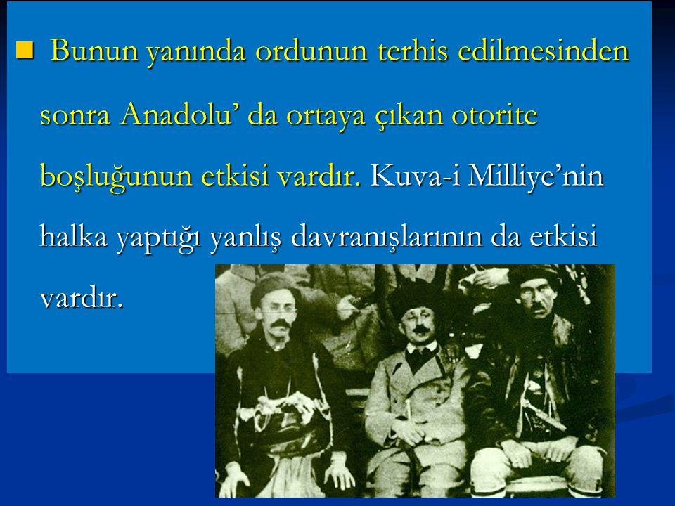 TBMM'ne Karşı Ayaklanmalar TBMM'ne Karşı Ayaklanmalar Sebepleri: Sebepleri: Ayaklanmaların çıkmasında İtilaf Devletleri'nin ve İstanbul hükümetinin kışkırtmalarının büyük etkisi vardır.