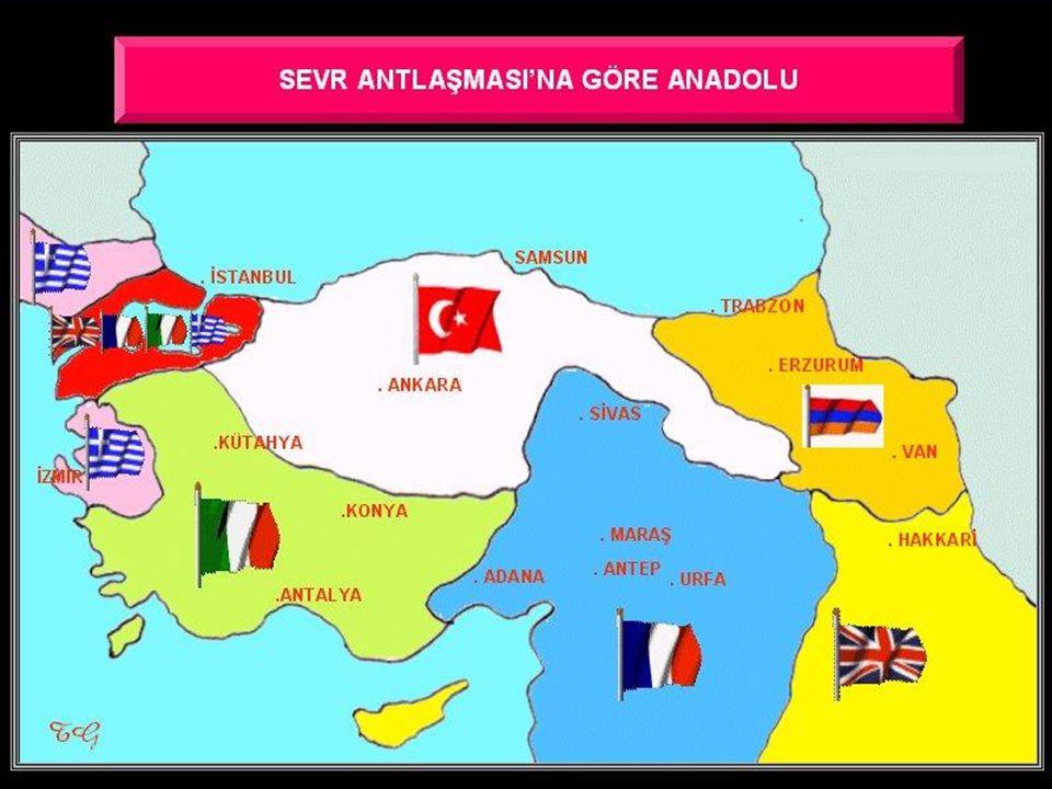 6-Antalya ve Konya bölgeleri İtalyanların; Adana,Sivas ve Malatya Fransızların payına düşmüştü.