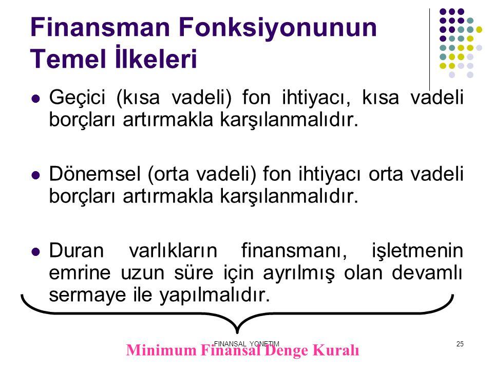 FINANSAL YONETIM25 Finansman Fonksiyonunun Temel İlkeleri Geçici (kısa vadeli) fon ihtiyacı, kısa vadeli borçları artırmakla karşılanmalıdır. Dönemsel