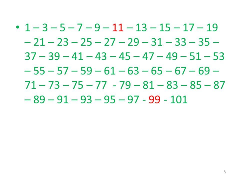 İki basamaklı en küçük tek sayı 11 dir. İki basamaklı en büyük tek sayı 99 dur. 7