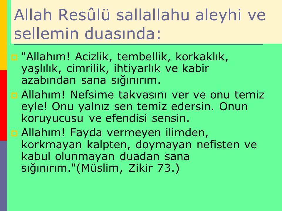 Allah Resûlü sallallahu aleyhi ve sellemin duasında: 