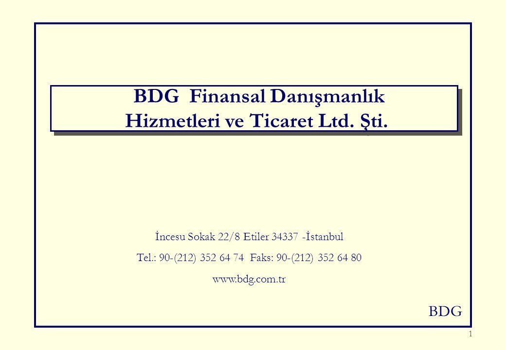 BDG 1 İncesu Sokak 22/8 Etiler 34337 -İstanbul Tel.: 90-(212) 352 64 74 Faks: 90-(212) 352 64 80 www.bdg.com.tr BDG Finansal Danışmanlık Hizmetleri ve Ticaret Ltd.